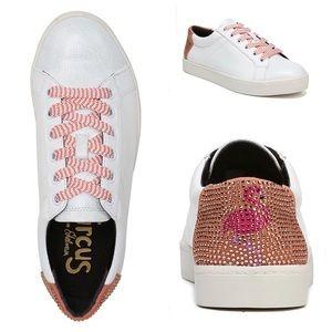 SAM EDELMAN Collins White Flamingo Sneakers NIB
